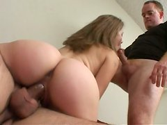 Pregnant whore Brooklyn Night gets her holes drilled hard