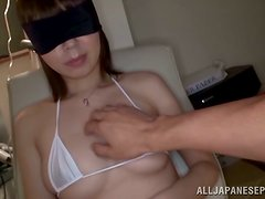 Blindfolded Yuki Mizuhoshi sucks a cock and gets a mouthful