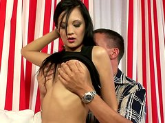 Gorgeous brunette Moon enjoys riding and getting it from behind