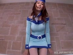 Cute Japanese stewardess in fishnets gets threesomed