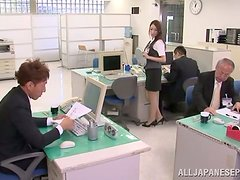 Slutty Japanese girl sucks a cock in the office