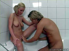 Slutty slender teen blonde Helena Sweet with hanging knockers and