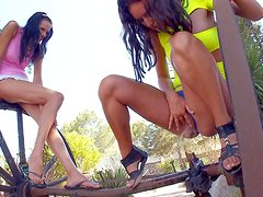 Skinny naughty black haired teens Mia and Monica with natural