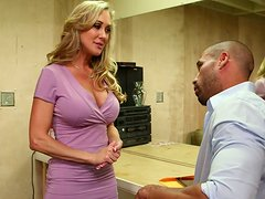 Busty blonde sweetheart Brandi Love gives her man a fantastic blowjob