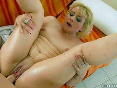 Fuck hungry mature blonde Barbie with small tits and hairless