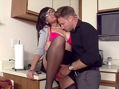Salty secretary girl Stacey Foxxx getting laid with new employee