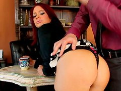 Voracious milf Jessica Ryan gives deepthroat blowjob in office