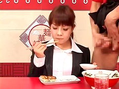 She eats as guys cum on her foods