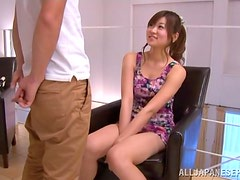 Ayumi Mochizuk deepthroats a cock and gets cum on her face
