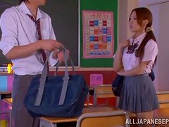 Teen Yukina Momota has passionate sex in a classroom