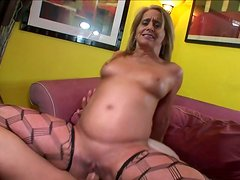 Blond crone with nice tits rides a stiff hot dick passionately for orgasm