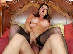 Devilish hottie Raquel DeVine is riding the cock and later getting rammed doggy style