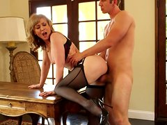 Fit and sexy mature slut Nina Hartley is getting banged brutally by horny young pussy desptroyer