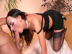 Voracious brunette girl gives a head and rides a solid prick frantically
