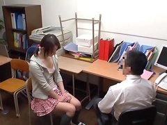 Shy Japanese blows a dick and rides it in the office