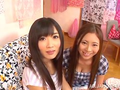 Cute Japanese babes suck and ride a dick in FFM threesome