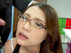 Pallid slutty secretary from Japan Ibuki gets fucked doggy right in the office
