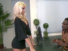 Sexy blonde doll is fucking in a hardcore interracial sex scene