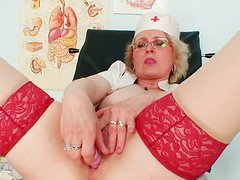 Kinky and voracious old nurse Mora tickles her fancy in the hospital