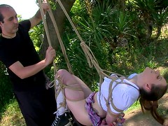 Samantha Bentley being tied and fucked in the forest