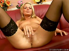 Valery toys her pussy before sucking and riding an old guy's prick
