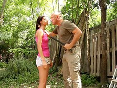 Cute brunette babe gets fucked by big bald guy