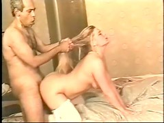Curvy blonde in white stockings goes for BBC in cunt