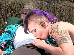 Crazy blonde is giving amazing blowjob