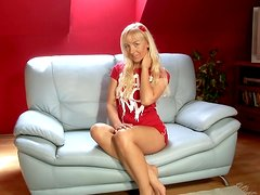 Slutty blonde Johanna moans sweetly while toying her snatch