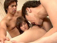 Stretching legs wide enough whorish nympho Moe Yoshikawa gets cunnilingus