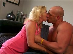 Sinfully lustful granny sucks dick and rides it