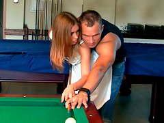 Lewd Russian sluts play pool with aroused fuckers