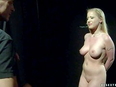 Fully nude slave blonde Kira Banks gets punished by kinky
