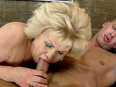 Blonde granny gets nailed with a huge young