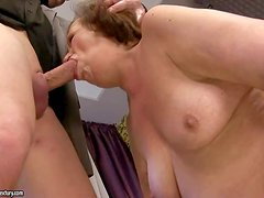 Turned on ass licking short haired granny with natural hanging