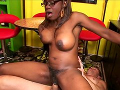 Black like coal chick in glasses gets banged from behind by fat white man