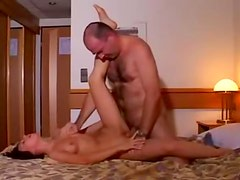 Cute amateur fucked by older hairy guy