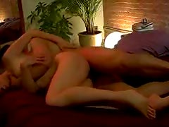 Sweet chick in erotic hardcore fuck in bed