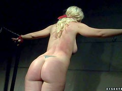 Anita Blue is a blond-haired naked slave girl that gets
