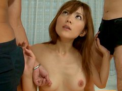 Svelte slut NAGISA AIBA gives a head while getting fucked in missionary pose