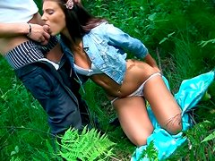 Perverse Russian hoe gives a head to aroused BF outdoors