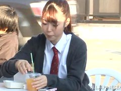 Lusty Japanese schoolgirl takes that cock in her wet holes