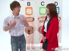 Four cute Japanese chick do all what they can to please a guy