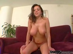 Her natural knockers bounce during big cock sex