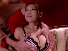 Cute Yuka Minase shows her big boobs and sucks a cock