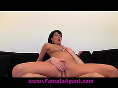 Brunette MILF gets fucked reverse cowgirl on a sofa