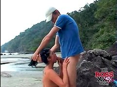On the beach with a cute cocksucking Latina