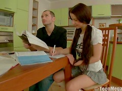 Schoolgirl slut fucked on desk