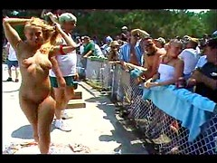 Chicks nude at a great outdoor party