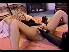 Crazy huge dildo fucking her amateur hole